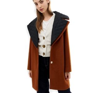 Tobacco Brown Quilted Collar Coat